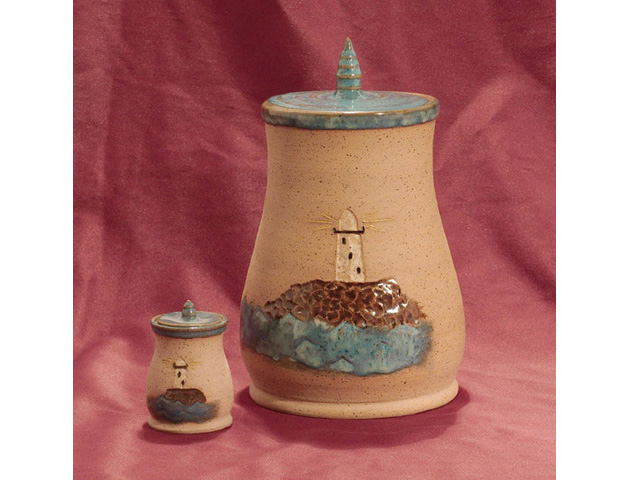 Lighthouse Clay Urn Set