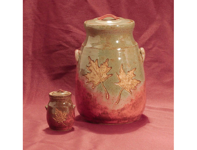 Maple Leaf Clay Urn Set