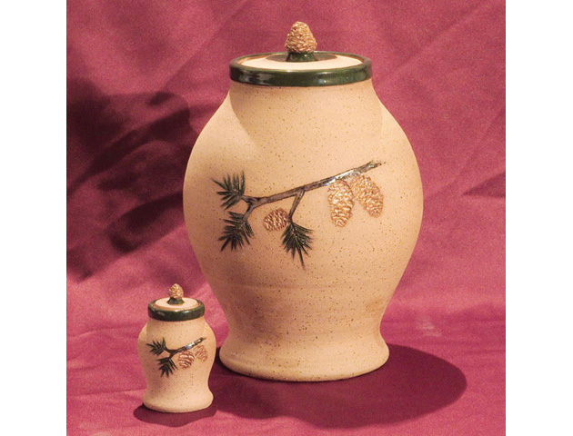Pinecone Clay Urn Set